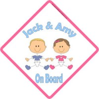Personalised 3 Sisters On Board Child//Baby on Board Car Sign New~Brown Hair//Pink