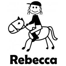 Girl on Horse Stick Figure Car Decal Sticker