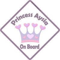 Crown Princess Lena On Board Personalised Baby Girl Car Sign