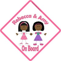 Pink Sisters 3 Baby//Child on Board Car Window Sign New!